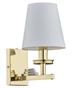 gold wall light NATALI with white shade