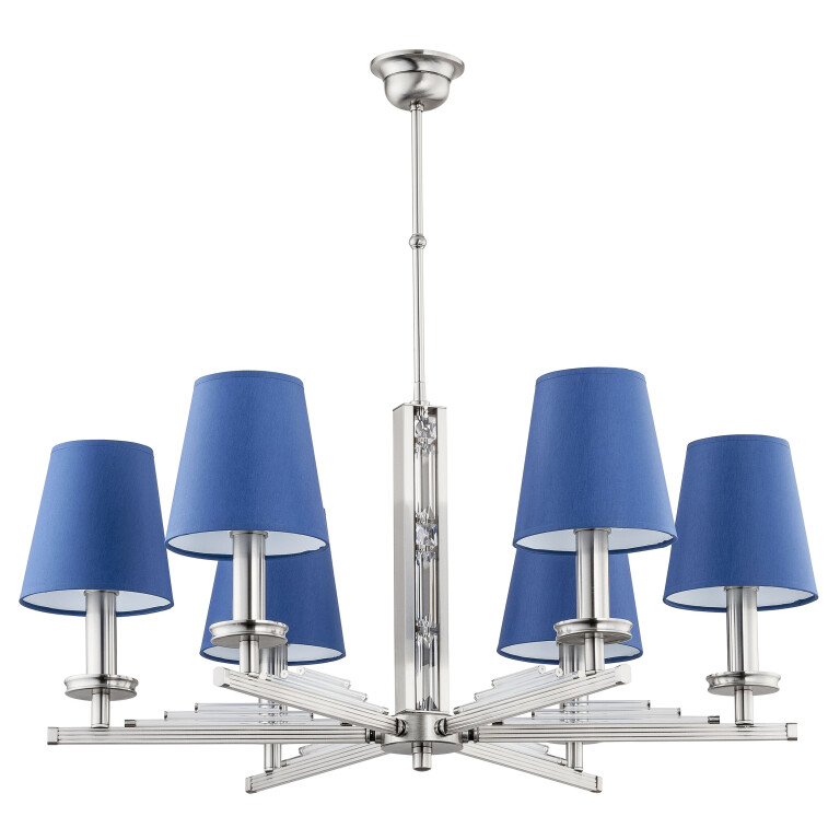 modern chandelier 6 light NATALI with blue lamp shade