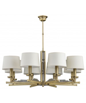 brass chandelier with white shades NATALI 8 light crystals