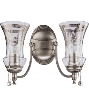 luxury double wall light in nickel with glass shades