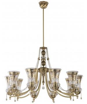 10 light brass chandelier NICO with glass shades I Swarovski crystals