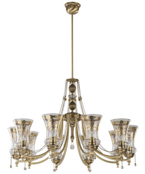 10 light brass chandelier NICO with glass shades I Swarovski crystals