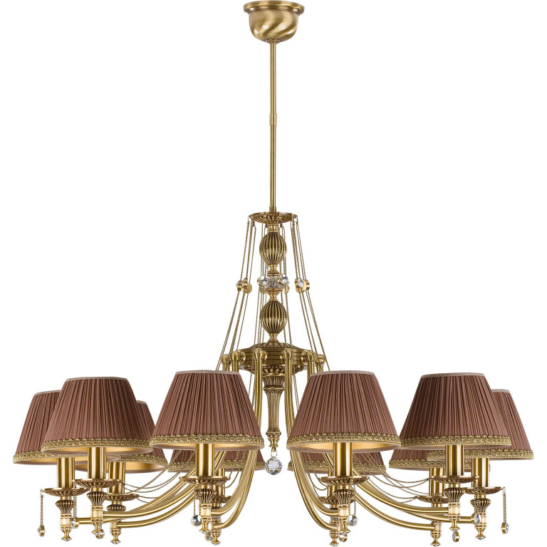 10 light brass chandelier NICO with lamp shades