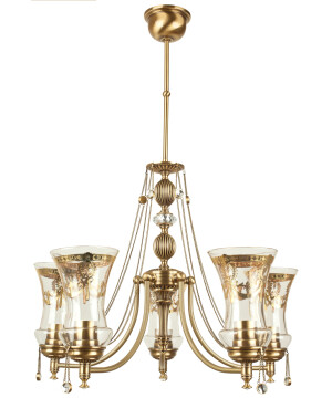 antique brass chandelier with crystals NICO 5 light glass shades