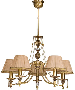 5 light chandelier with shades NICO in brushed brass I Swarovski crystals