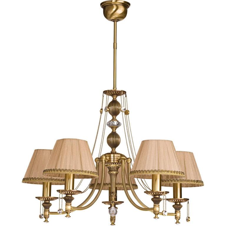 5 light chandelier with shades NICO in brushed brass I Swarovski crystals