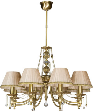 8 light crystal chandelier NICO in brushed brass with shades