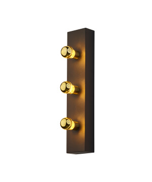Designer Art Déco Wall Lamp Phoenix with 3 source lights Gold
