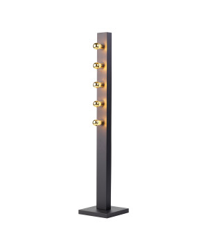 Designer Art Déco Floor Lamp Phoenix black with 5 source lights in Gold