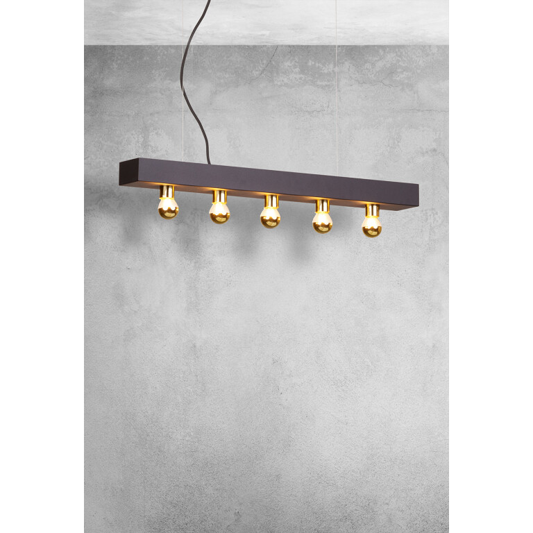 Inspiration of Designer Art Déco Lamp Phoenix Gold pendant ceiling bar 5 lights