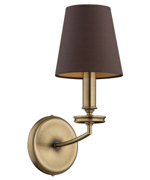 designer bedside wall lights ROSSANO in brushed brass with brown shades