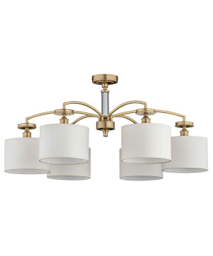 low ceiling chandelier ROSSANO 6 light brass with white shades