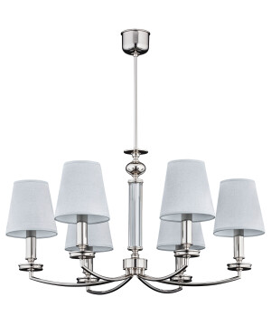 6 light brass chandelier ROSSANO in polished nickel with shades