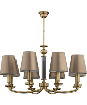 8 light brass chandelier ROSSANO in brushed brass with shades