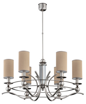 transitional gold chandelier TAMARA 6 light with pink shades