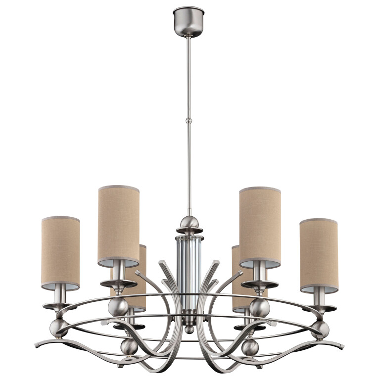 rustic chandelier dining room RUTA in brushed nickel with brown shades