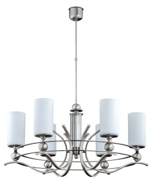 antique bespoke chandelier RUTA 6 light in brushed nickel with glass shades