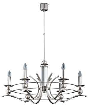 round chandelier 6 light RUTA brass in brushed nickel I candle