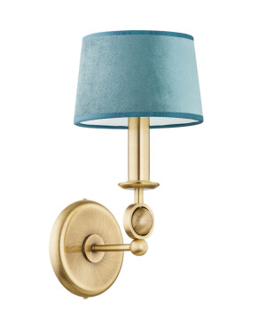 brass wall lights SARA living room design with fabric shade