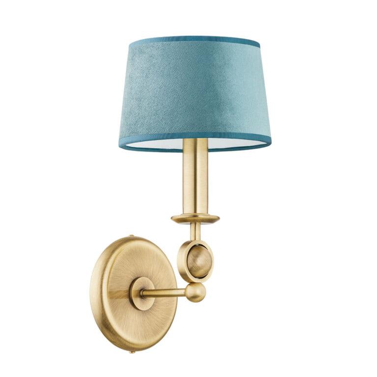 brass wall lights SARA living room design with fabric shade