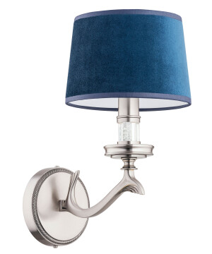statement wall light SPARONE in nickel and blue lamp shade