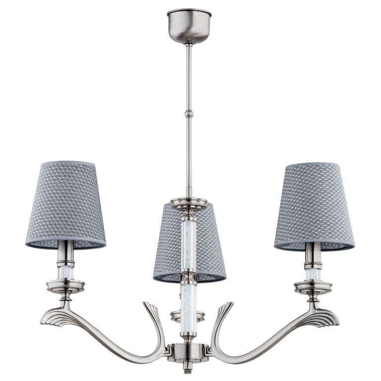crystal chandelier 3 lights SPARONE in nickel with grey shades