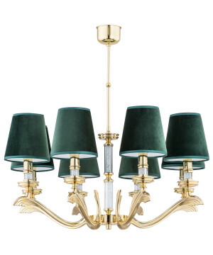 brass chandelier SPARONE in gold with green shades