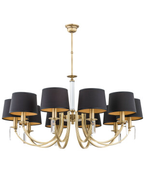 10 light crystal chandelier ZEVIO brass, handmade lamps