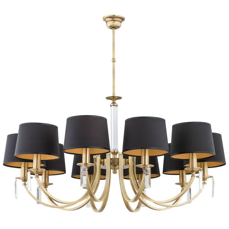 10 light crystal chandelier ZEVIO brass, handmade lamps