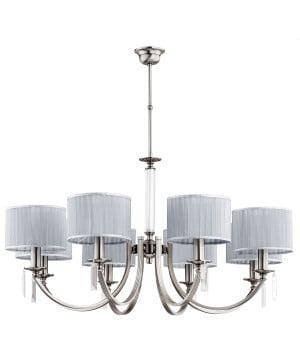8 light brass chandelier ZEVIO with SWAROVSKI crystals in nickel