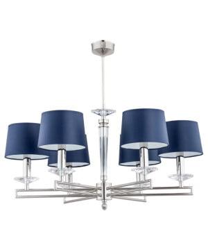 brass chandelier modern ZOLA 6 lights with blue shades