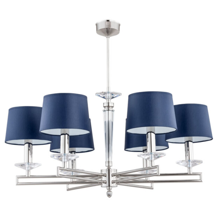 brass chandelier modern ZOLA 6 lights with blue shades