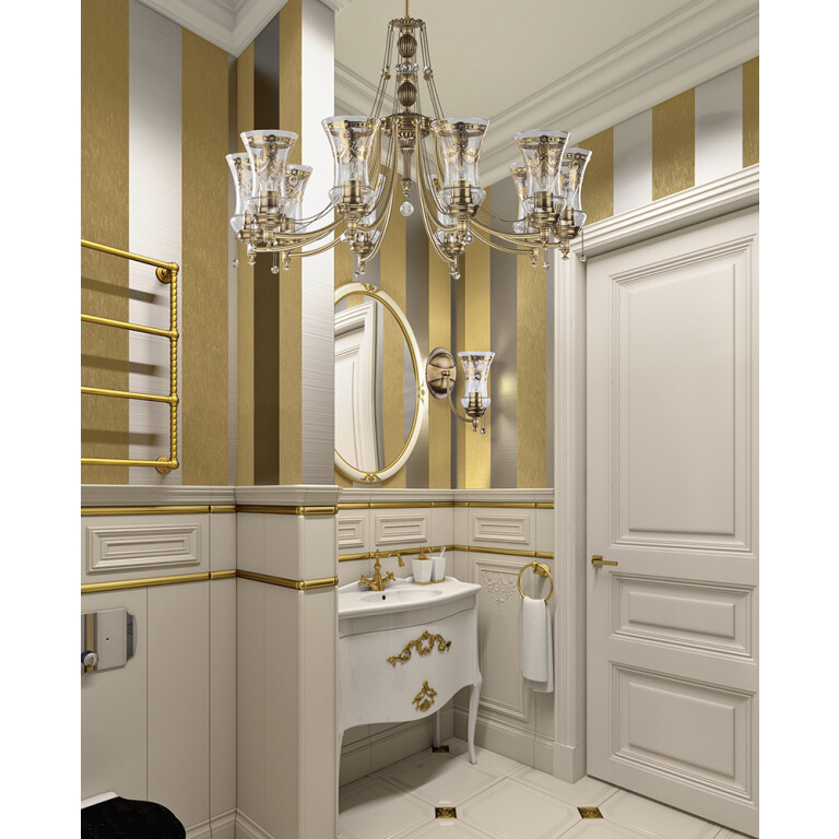 bathroom ideas with NICO matching wall and ceiling lights