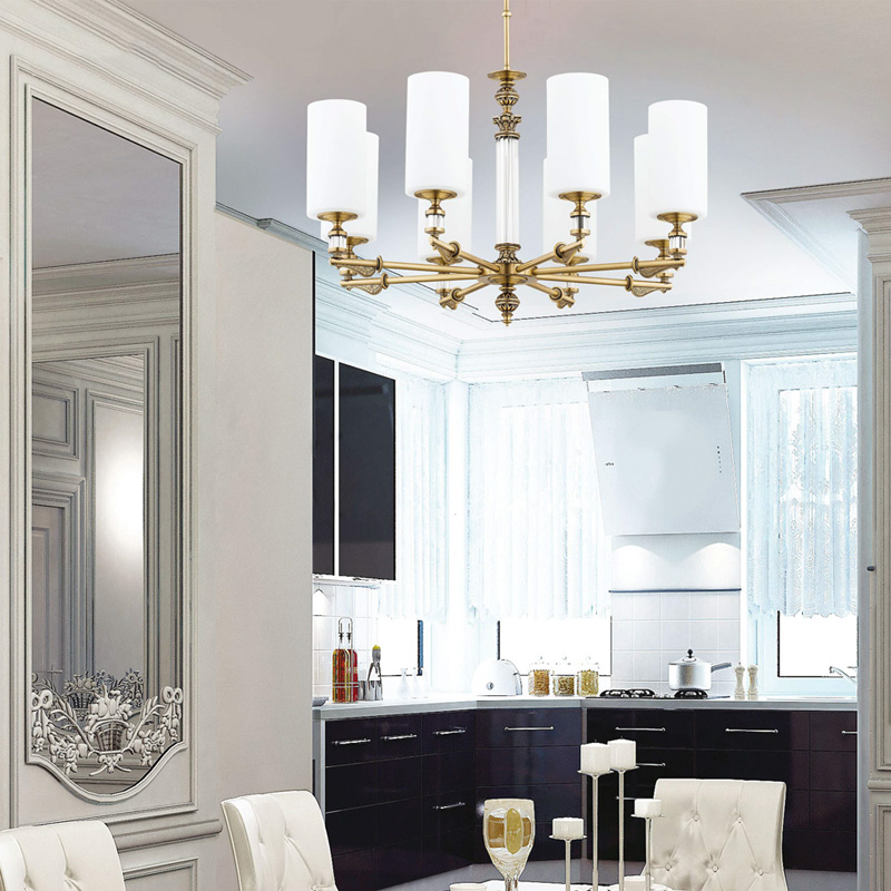 Dining room ideas with gold chandelier MERANO