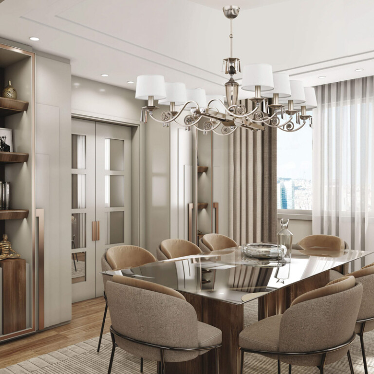 dining room idea with large chandelier MONZA in nickel