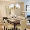 dining room idea with brass chandelier ANTHONY with white lamp shades