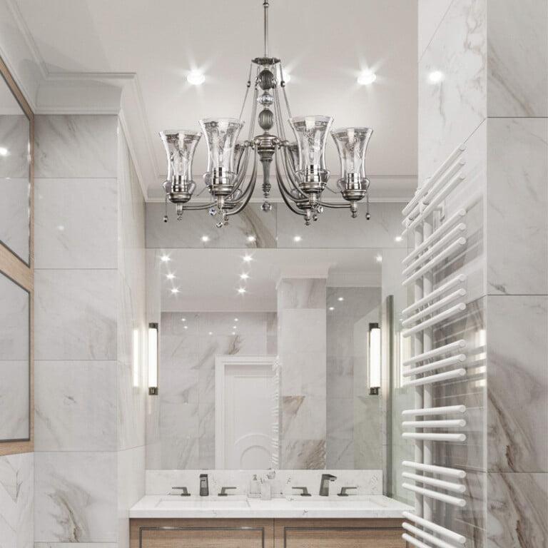 master bathroom chandelier idea with 6 light brass chandelier