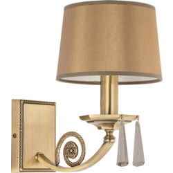 brass wall light MONZA with crystals and gold lamp shade