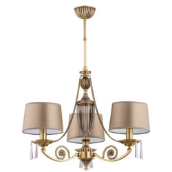 beautiful chandeliers MONZA 3 light with crystals and gold lamp shades