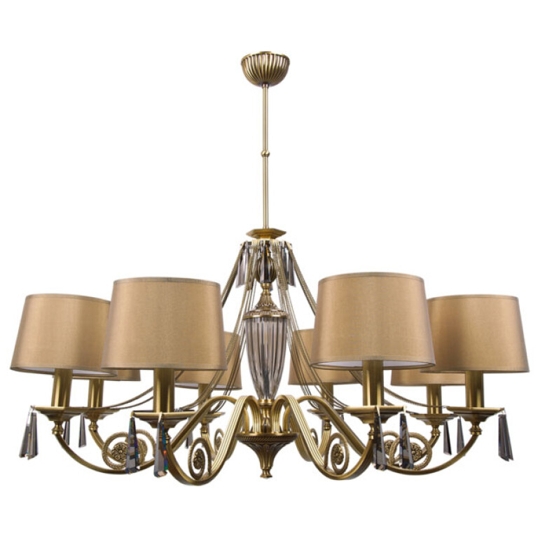 handmade crystal chandelier MONZA 8 light with gold lamp shades