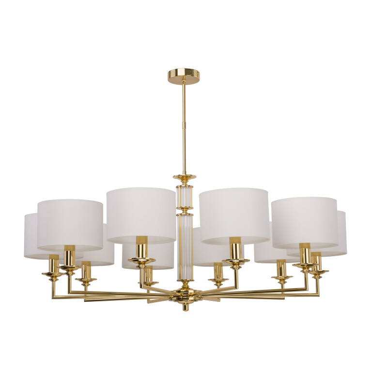 Bedroom chandelier 10 arms ART in gold and white shades with glass