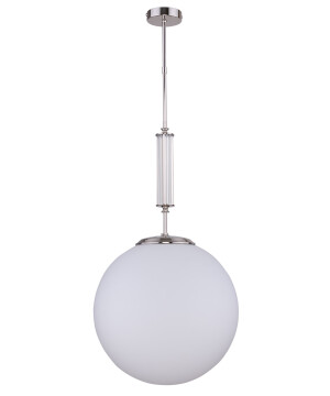 Globe single ceiling pendant light ARTU in nickel with glass shade