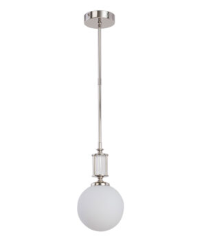Globe single ceiling pendant light ARTU Slim in nickel with glass shade