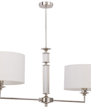 Low ceiling chandelier 2 arms ART in nickel with white shade