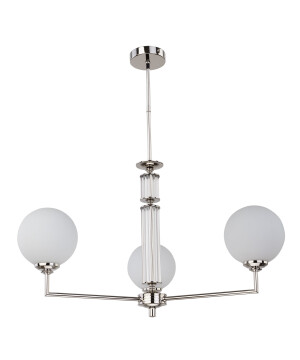Lighting room ARTU 3 light globe chandelier in nickel glass shades