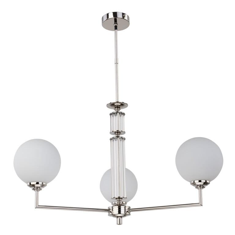 Lighting room ARTU 3 light globe chandelier in nickel glass shades