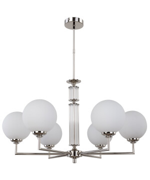 Lighting room ARTU 6 light nickel and brass chandelier with glass shade