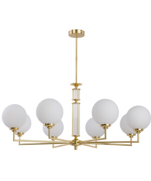 Luxury chandelier 8 arms ARTU in gold with white glass shades