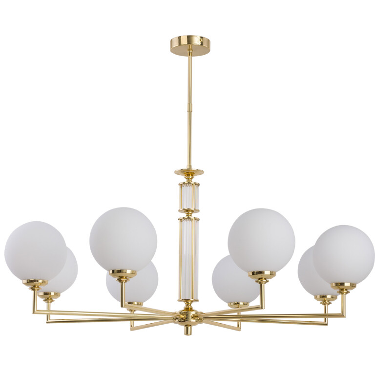 Lighting room ARTU 8 light luxury chandelier in gold with white glass shades