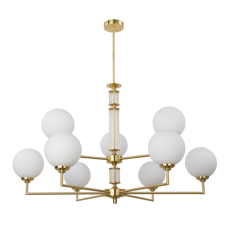 Large double tier chandelier 9 lights ARTU in gold with opal glass shades
